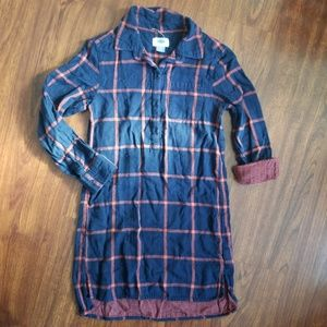 Navy Plaid Flannel Tunic Dress Girls